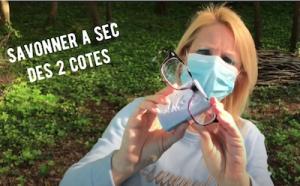 Frotter du savon sur les lunettes ou placer les lunettes par-dessus le masque