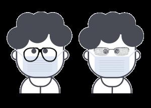 Buée sur les lunettes avec un masque de protection